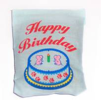 Blue Happy Birthday Linen Bag Toy